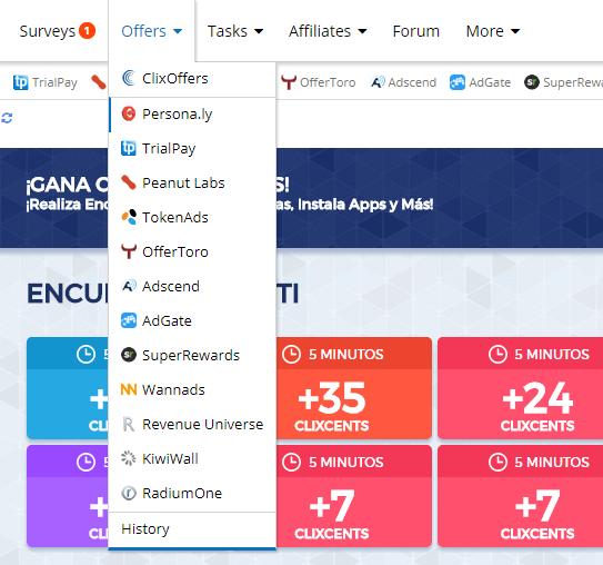 Además de encuestas y tareas, Clixsense también cuenta con una sección de ofertas