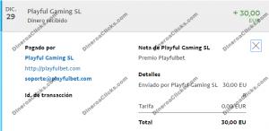 Comprobante de pago de Playfulbet de 30 euros por Paypal de 2016-12-29