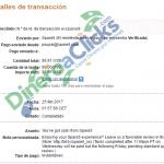 Comprobante de pago de Spare5 de 6,91$ por Paypal de 2017-2-25