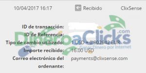 Comprobante de pago de Clixsense de 16$ de 2017-4-10 por Skrill