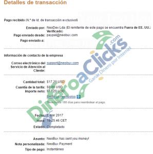 Comprobante de pago de Neobux de 17,20$ del 2017-3-2 por Paypal