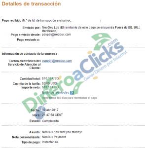 Comprobante de pago de Neobux de 10,16$ por Paypal de 2017-4-10