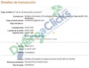 Comprobante de pago de Scarlet-clicks de 4,40$ de 2017-3-9 por Paypal