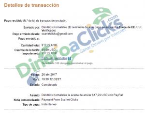 Comprobante de pago de Scarlet-clicks de 17,29$ por Paypal de 2017-4-26