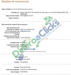 Comprobante de pago de Beruby de 8 euros por Paypal del 2017-5-3