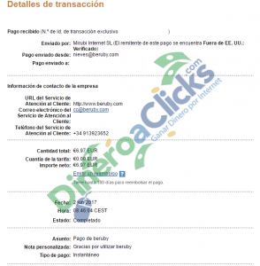 Comprobante de pago de Beruby de 6,97 euros por Paypal del 2017-6-2