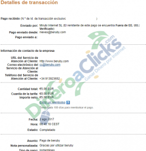 Comprobante de pago de Beruby de 5€ por Paypal de 2017-8-2