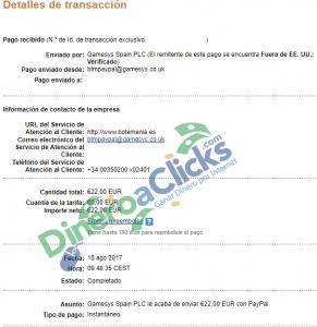 Comprobante de pago de Botemania de 22€ por Paypal de 2017-8-18