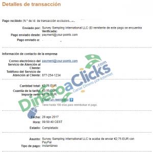 Comprobante de pago de Centro de Opinión de 2,75€ por Paypal de 2017-8-28