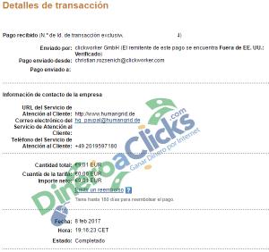 Comprobante de pago de Clickworker de 9,01€ por Paypal de 2017-2-8