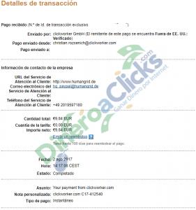 Comprobante de pago de Clickworker de 9,84€ por Paypal de 2017-8-2
