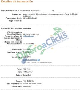 Comprobante de pago de Beruby de 3€ del 2018-2-2 por Paypal