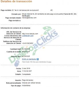Comprobante de pago de Beruby de 2€ del 2018-3-2 por Paypal