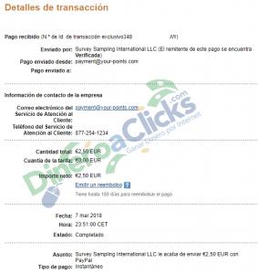 Comprobante de pago de Centro de Opinión de 2,5€ del 2018-3-7 por Paypal