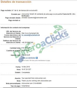 Comprobante de pago de ClickWorker de 18,30€ del 2018-2-14 por Paypal