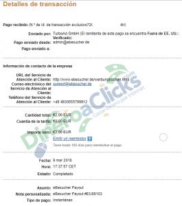 Comprobante de pago de eBesucher de 2€ del 2018-3-9 por Paypal