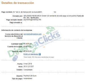 Comprobante de pago de Mobrog de 5€ del 2018-3-4 por Paypal