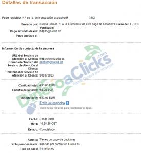 Comprobante de pago de Luckia de 13,03€ del 2018-3-3 por Paypal