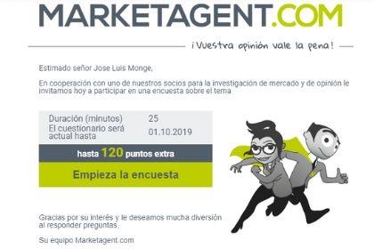 Invitación de marketagent a encuesta de 120 puntos de valor