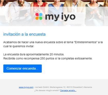 Invitación a una encuesta en Myiyo con 2,50 euros de remuneración