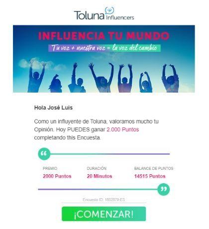 Invitación a encuestas en Toluna