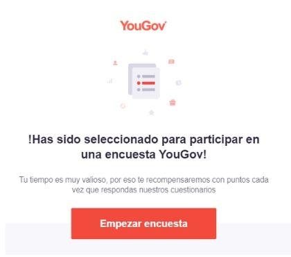 Invitación a encuesta de YouGov por correo electrónico