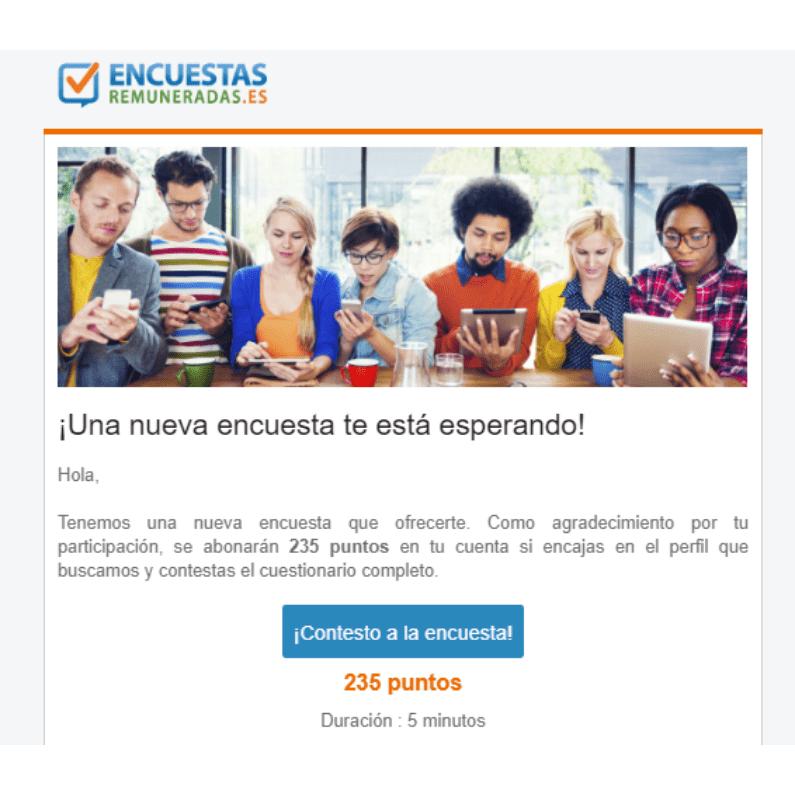 Invitación por email para encuestas por EncuestasRemuneradas.es