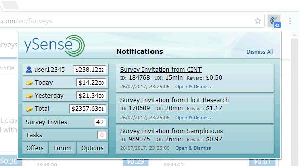 El Addon te ayuda a estar informado sobre las encuestas de ySense disponibles